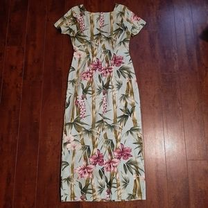 Hilo Hattie Long Floral Bamboo Maxi Dress Size 4